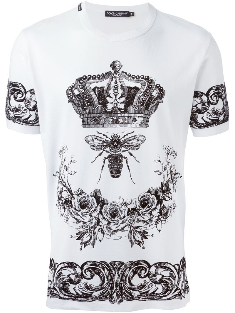 lyst dolce gabbana crown bee print t shirt in white