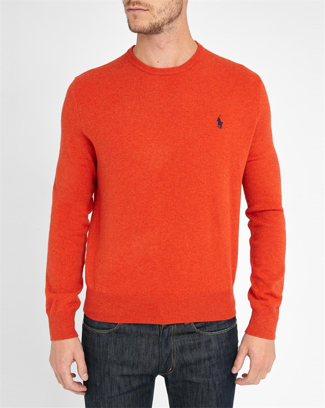 polo ralph lauren orange lambswool round neck sweater in. Black Bedroom Furniture Sets. Home Design Ideas