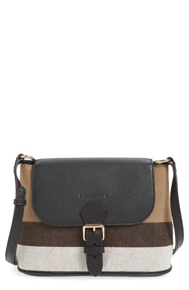 7b6c2a7287f6 Lyst - Burberry  gowan  Canvas Check Print   Leather Crossbody Bag ...