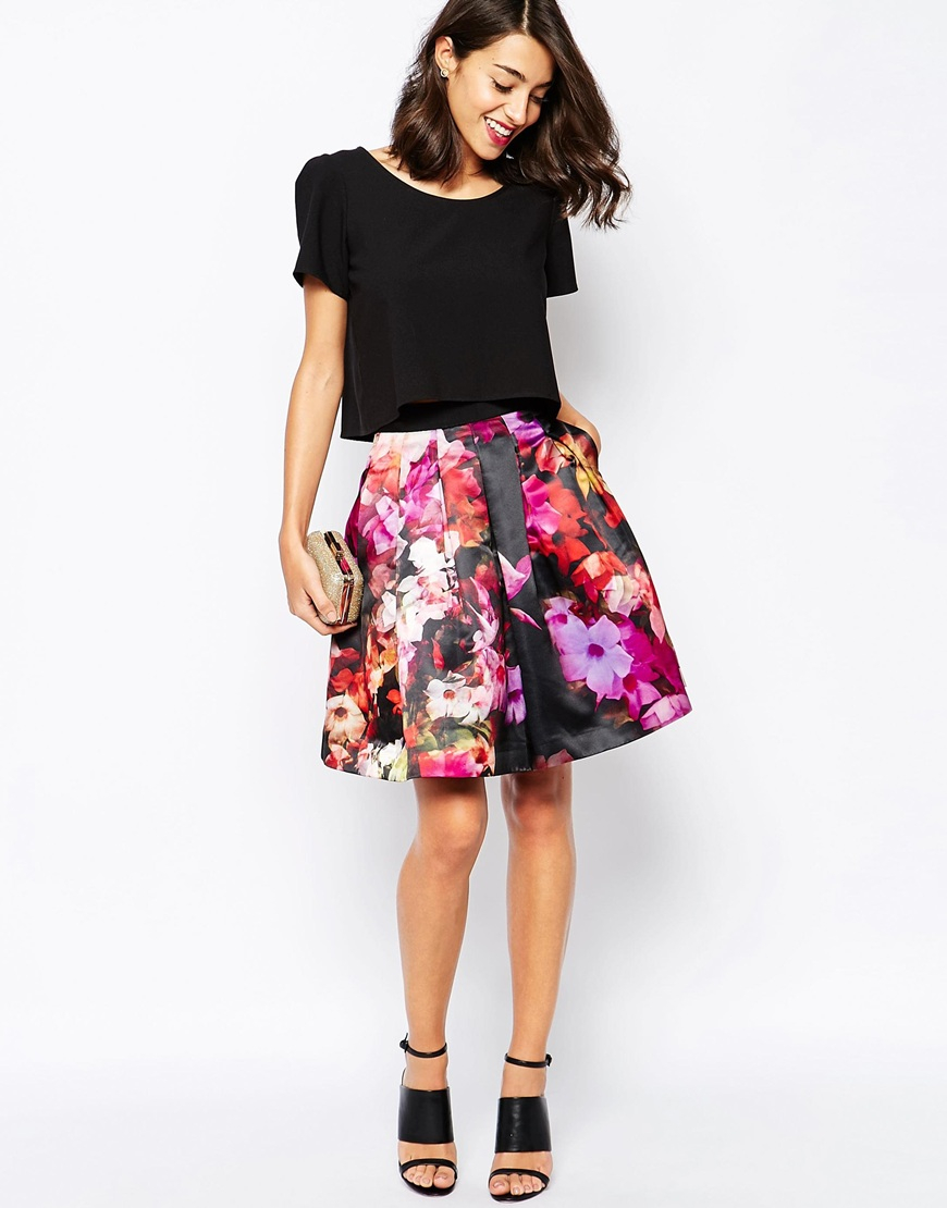 2d9be9564 Lyst - Ted Baker Full Skirt With Tulle In Cascading Floral Print in ...