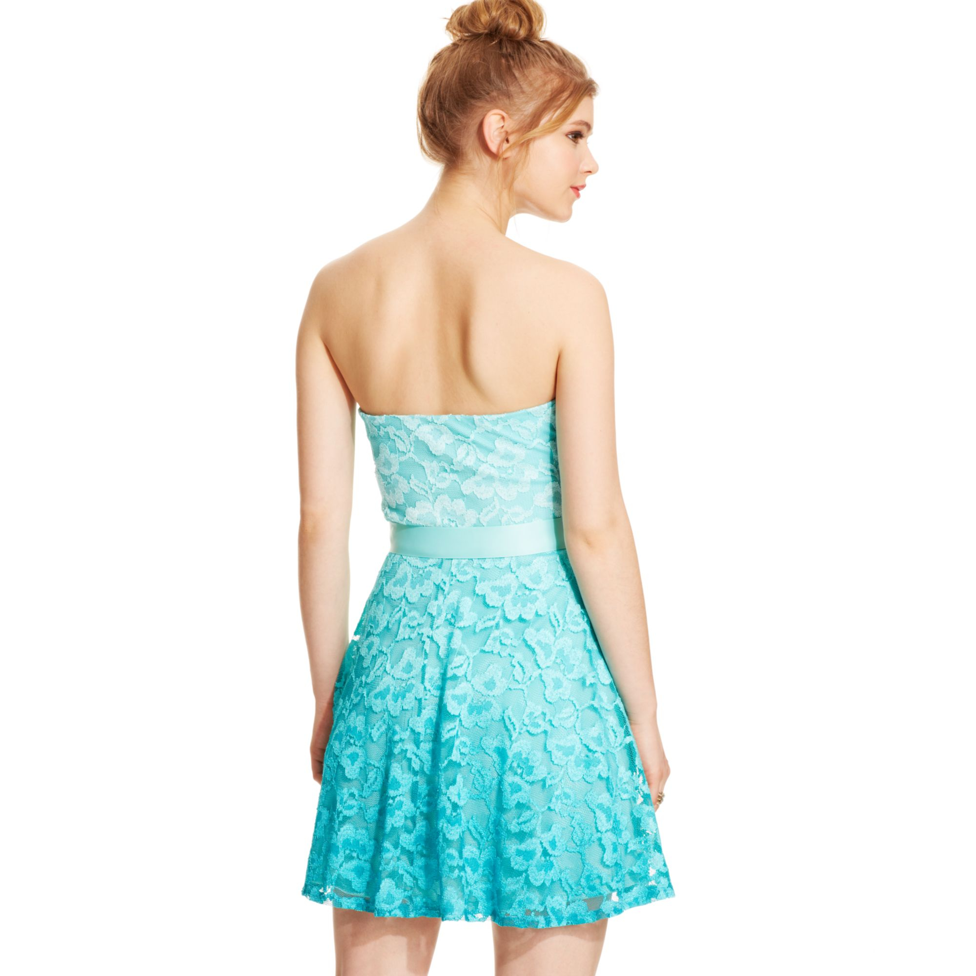 Lyst - As U Wish Juniors Strapless Lace Ombre Dress in Blue