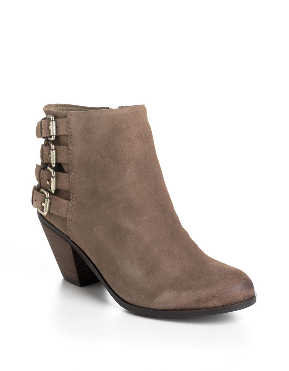 sam edelman lucca suede ankle boots in beige lyst
