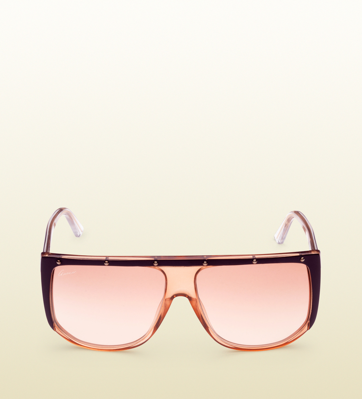 08bc29dba1a Lyst - Gucci Large Shaded Mask Sunglasses in Orange