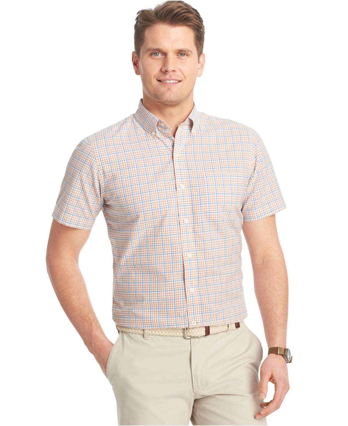 Izod big and tall small plaid poplin short sleeve shirt in for Dress shirts for big and tall