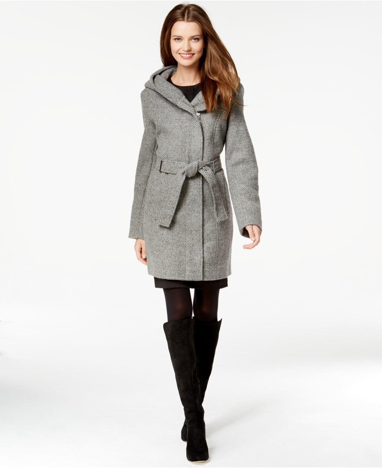 Calvin klein Hooded Asymmetrical Herringbone Coat in Gray ...