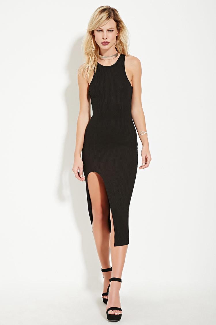 Lyst - Forever 21 Rehab High-slit Midi Dress in Black c0840af1a445