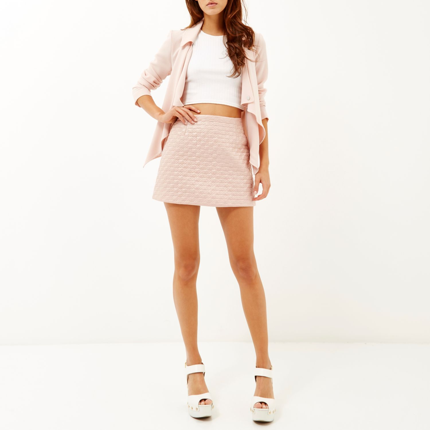 River island Light Pink Quilted Mini Skirt in Pink | Lyst