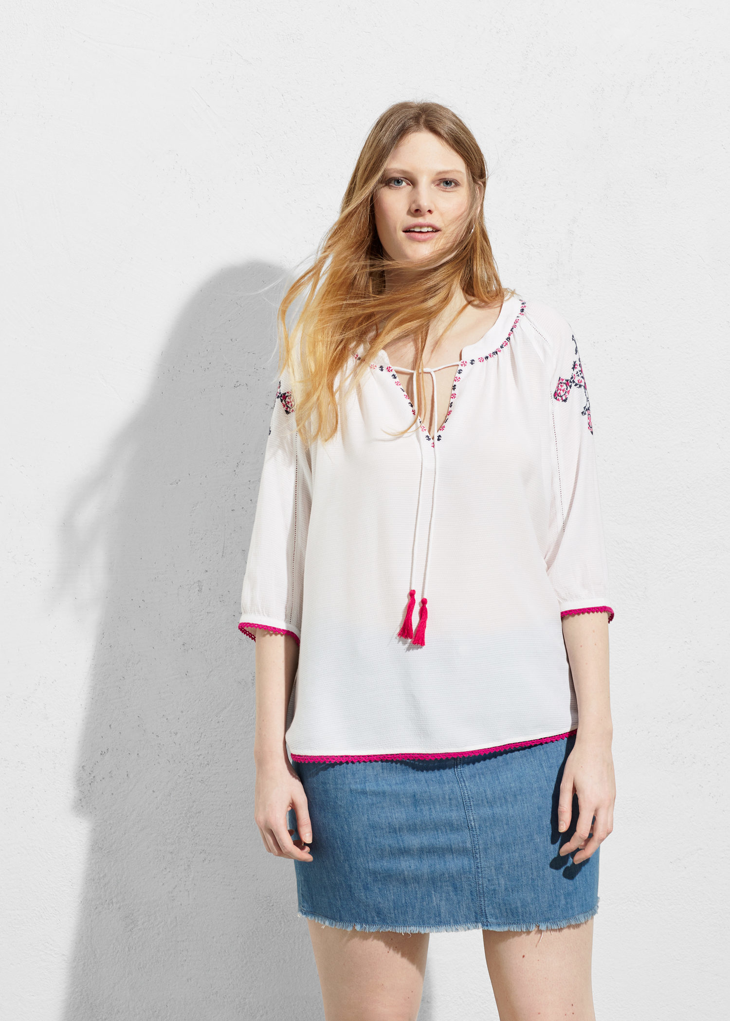 6f2e869b77f450 Lyst - Violeta by Mango Embroidered Boho Blouse in White