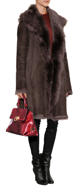 Joseph Shearling Coat in Brown | Lyst