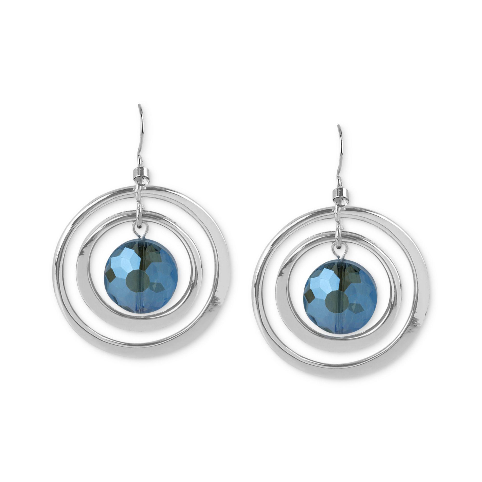 kenneth cole silvertone faceted bead orbital earrings in