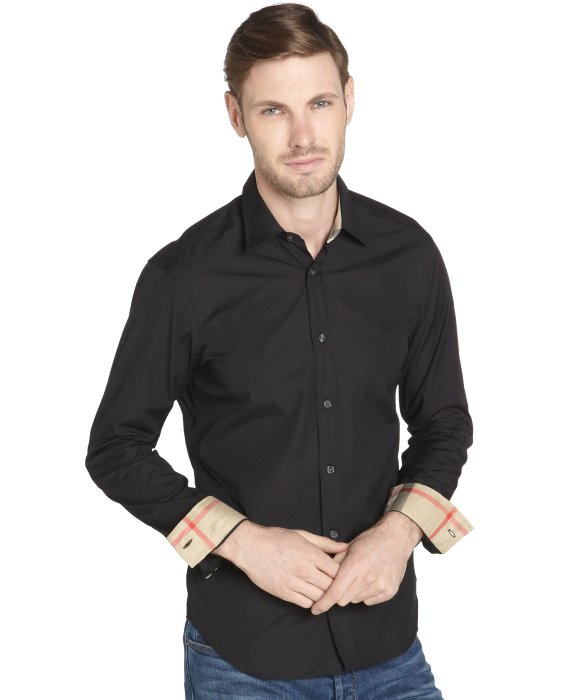 Burberry Brit Black Cotton 'Henry' Button Down Long Sleeve Shirt ...