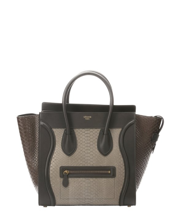 C¨¦line Khaki Python Mini Luggage Tote Bag in Khaki | Lyst