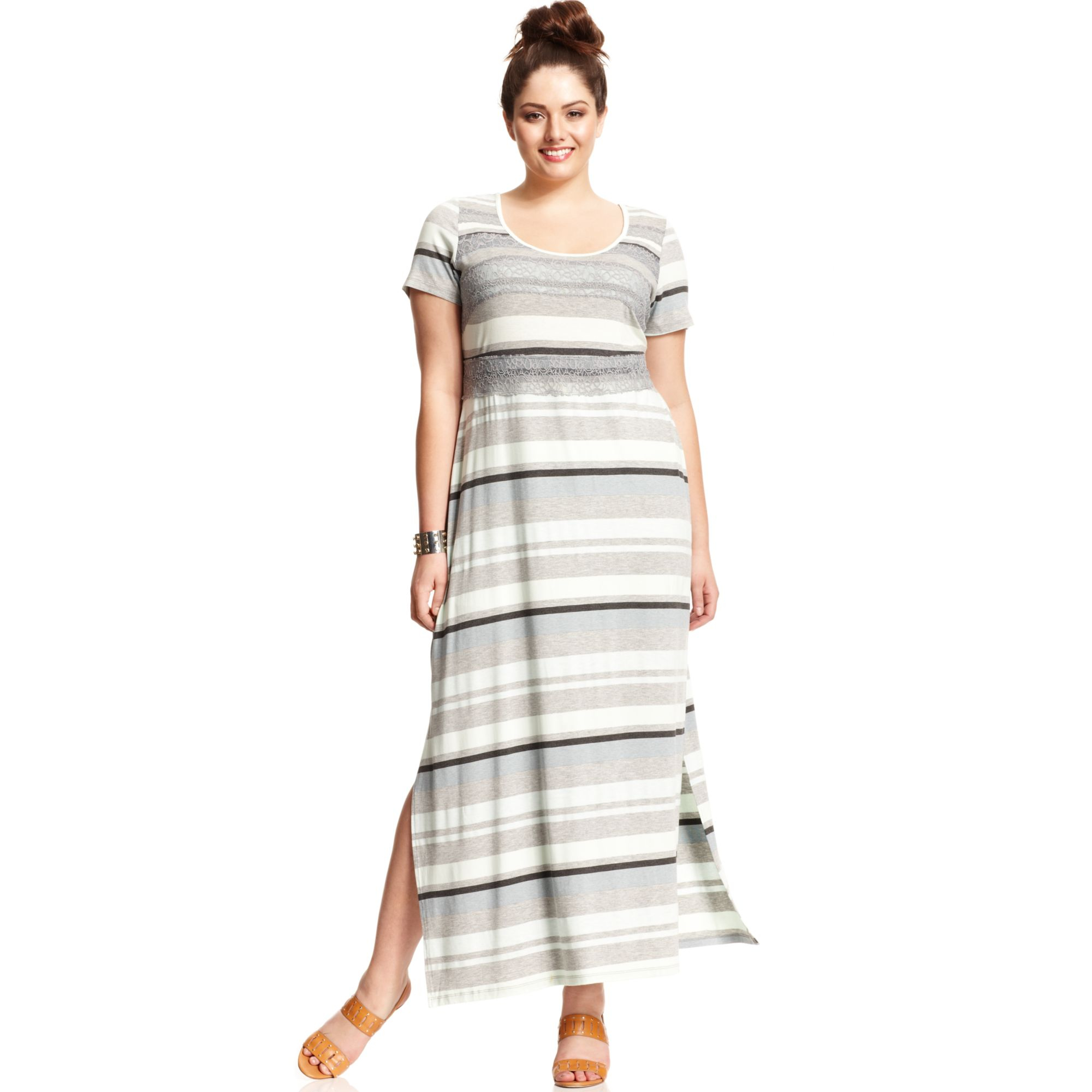 Jessica Simpson Plus Size Shortsleeve Striped Maxi Dress in Blue - Lyst