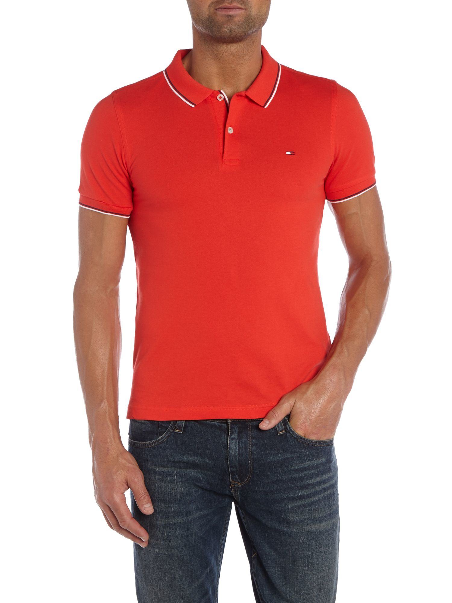 tommy hilfiger paddy plain slim fit polo shirt in red for men lyst. Black Bedroom Furniture Sets. Home Design Ideas