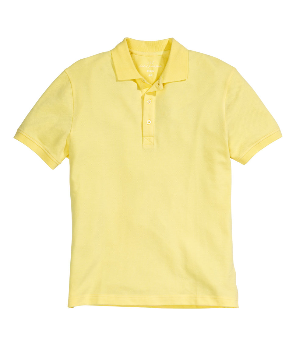 Lyst h m polo shirt in yellow for men for H m polo shirt mens
