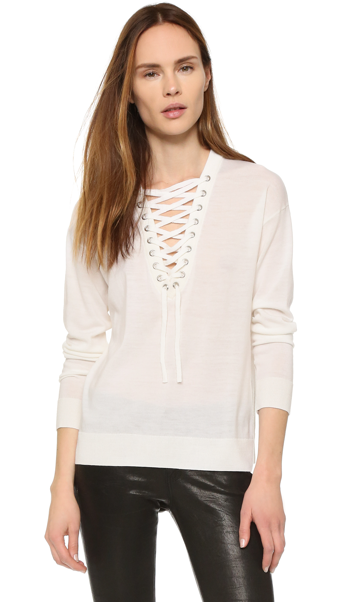 f81794b45f Lyst - The Kooples Lace Up Merino Top in White