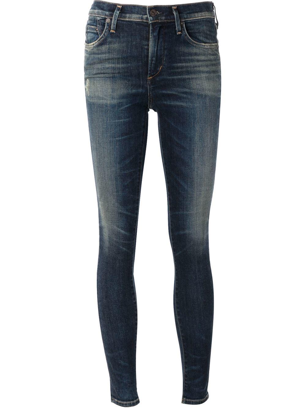 citizens of humanity 39 rocket 39 skinny jeans in blue lyst. Black Bedroom Furniture Sets. Home Design Ideas