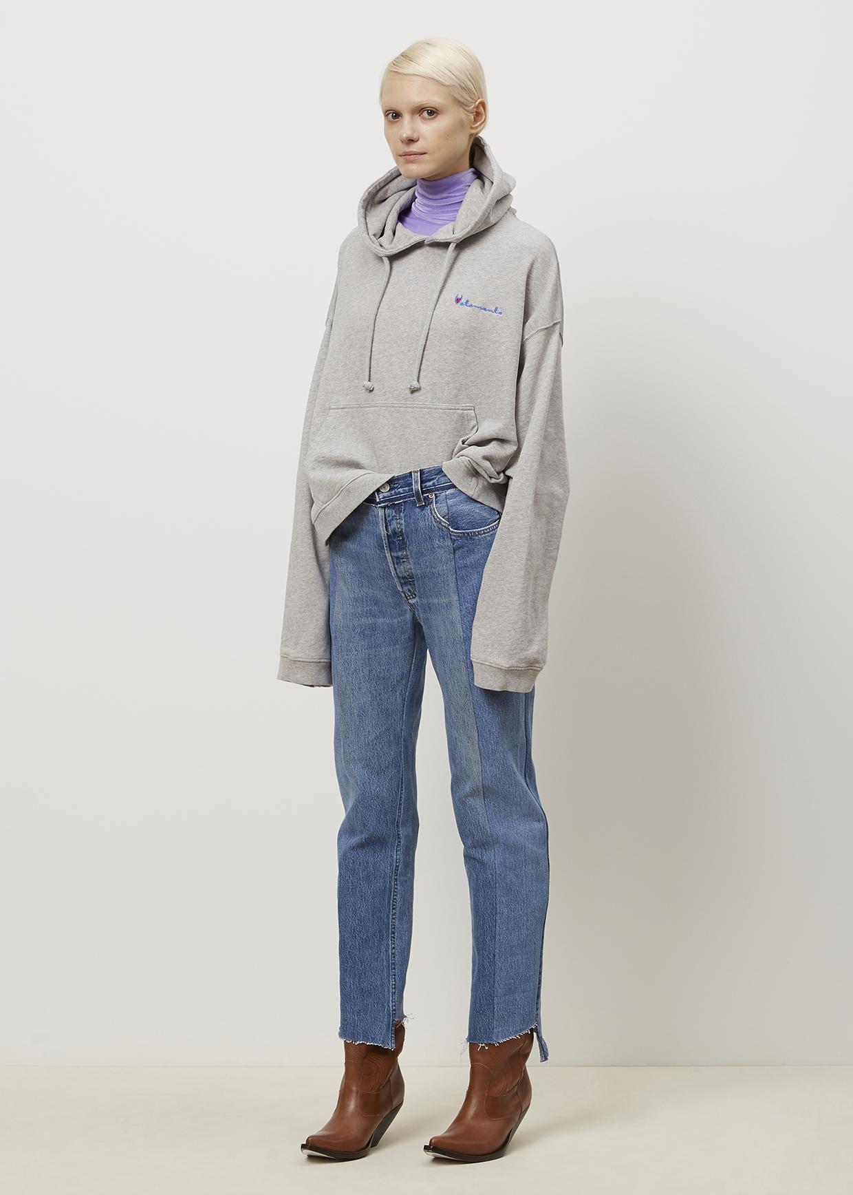 Vetements Grey Hoodie Sweatshirt in Gray   Lyst