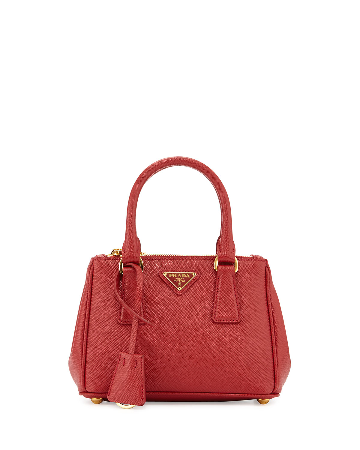 fb79655cfdb3 Lyst - Prada Saffiano Extra-mini Executive Leather Bag in Red
