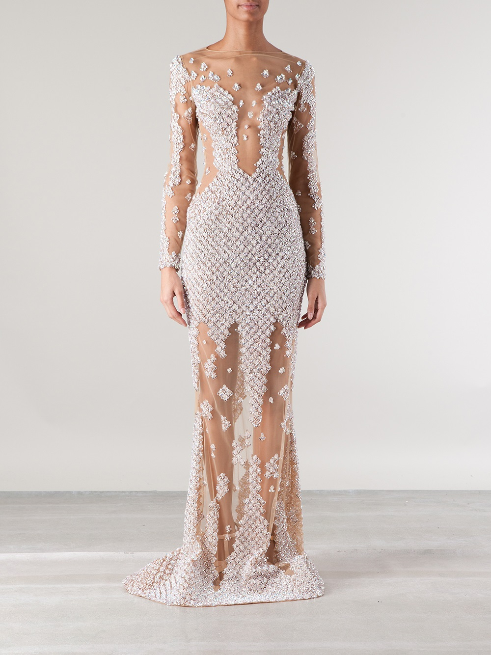 Lyst - Zuhair Murad Embellished Sheer Gown in White