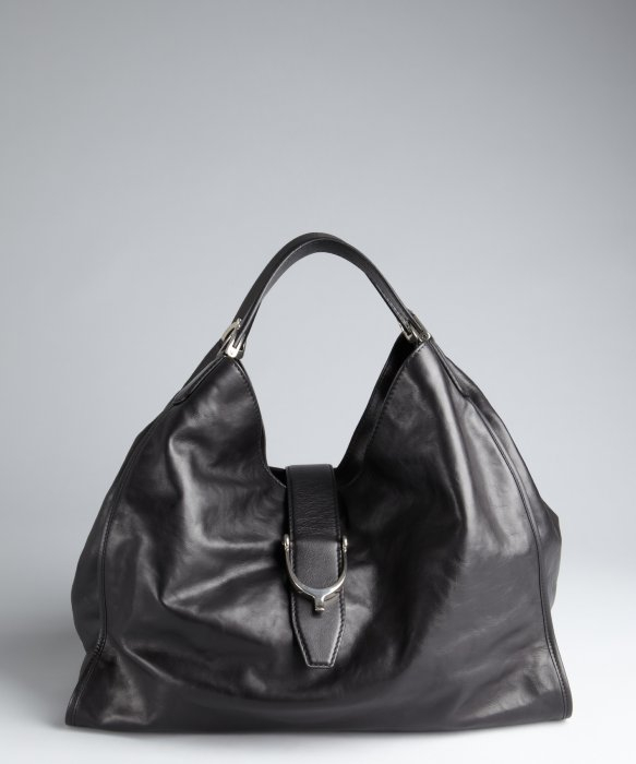 Gucci Black Leather Large Hobo Bag in Black | Lyst