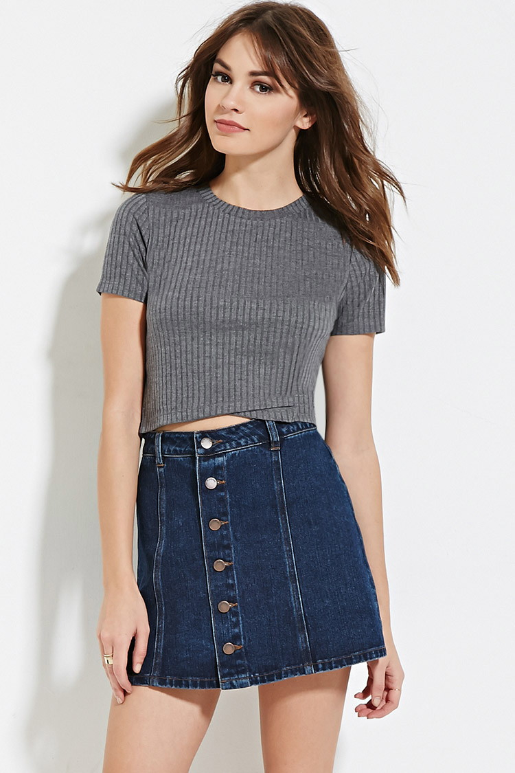 cf394f235850cc Lyst - Forever 21 Ribbed Crop Top You ve Been Added To The Waitlist ...