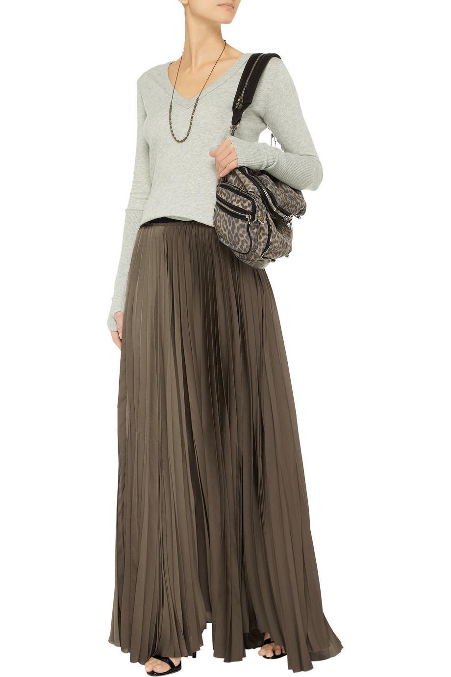 42d045112a Lyst - Enza Costa Pleated Satin Maxi Skirt in Green