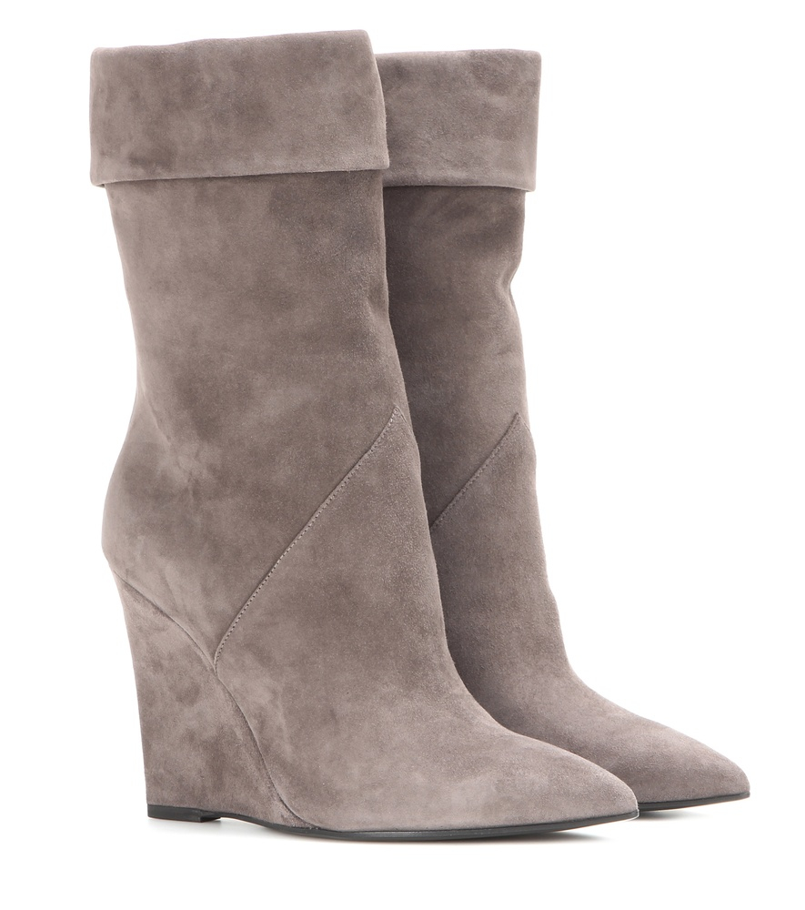 laurent suede wedge boots in gray lyst