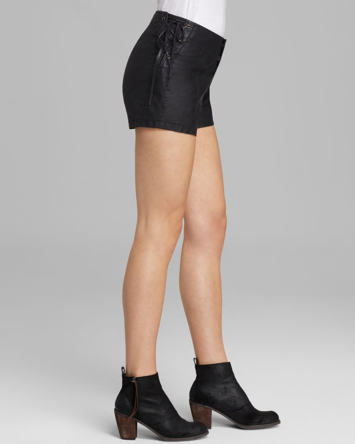 Free people Shorts - Faux Leather High Waist in Black | Lyst