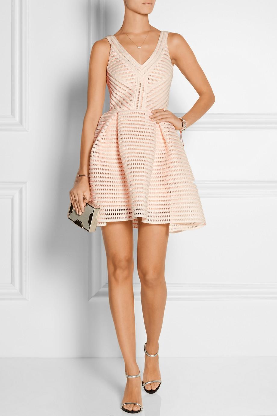 Lyst Maje Rayure Mesh Striped Jersey Mini Dress In Pink