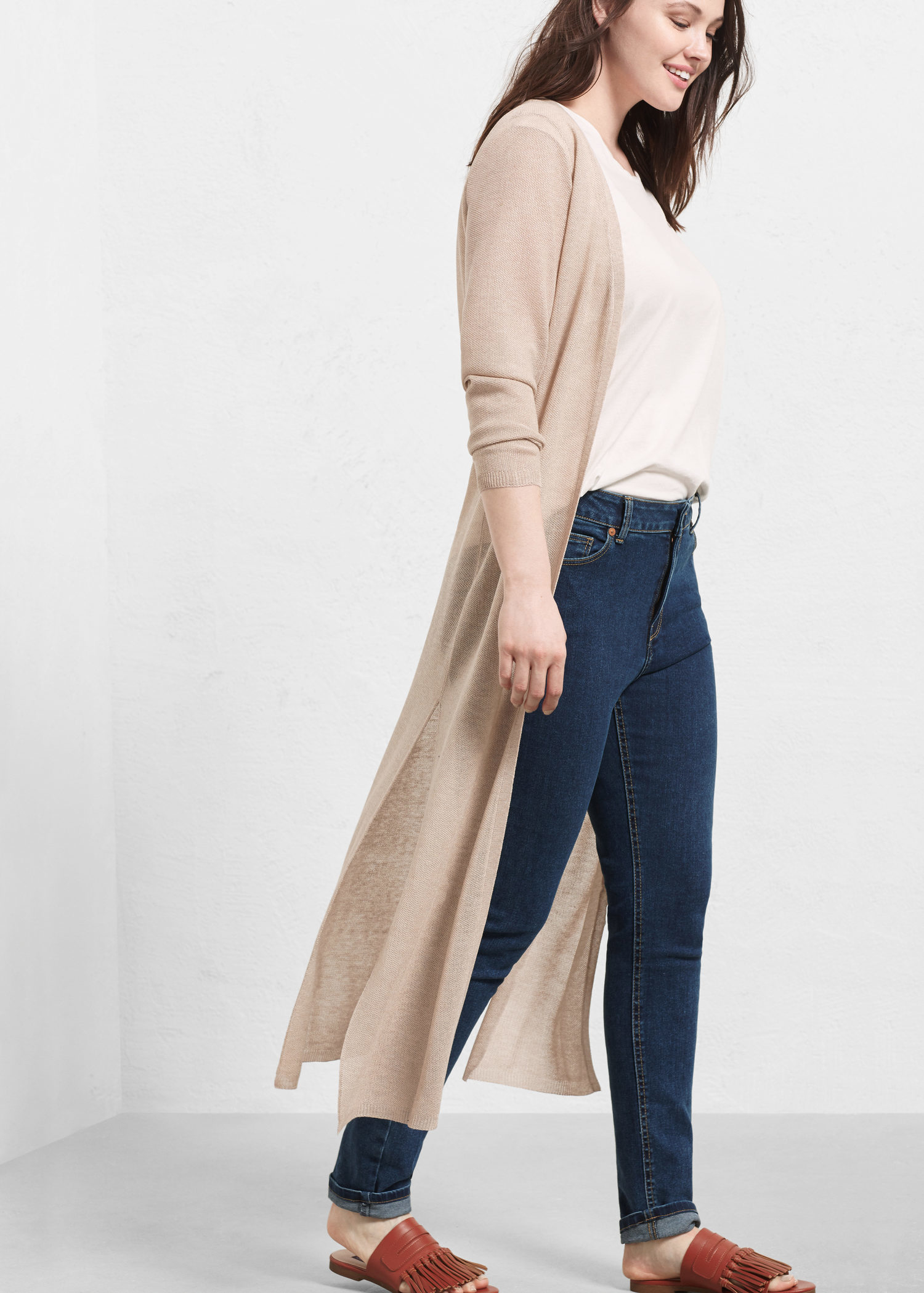 Violeta by mango Long Cardigan in Natural | Lyst
