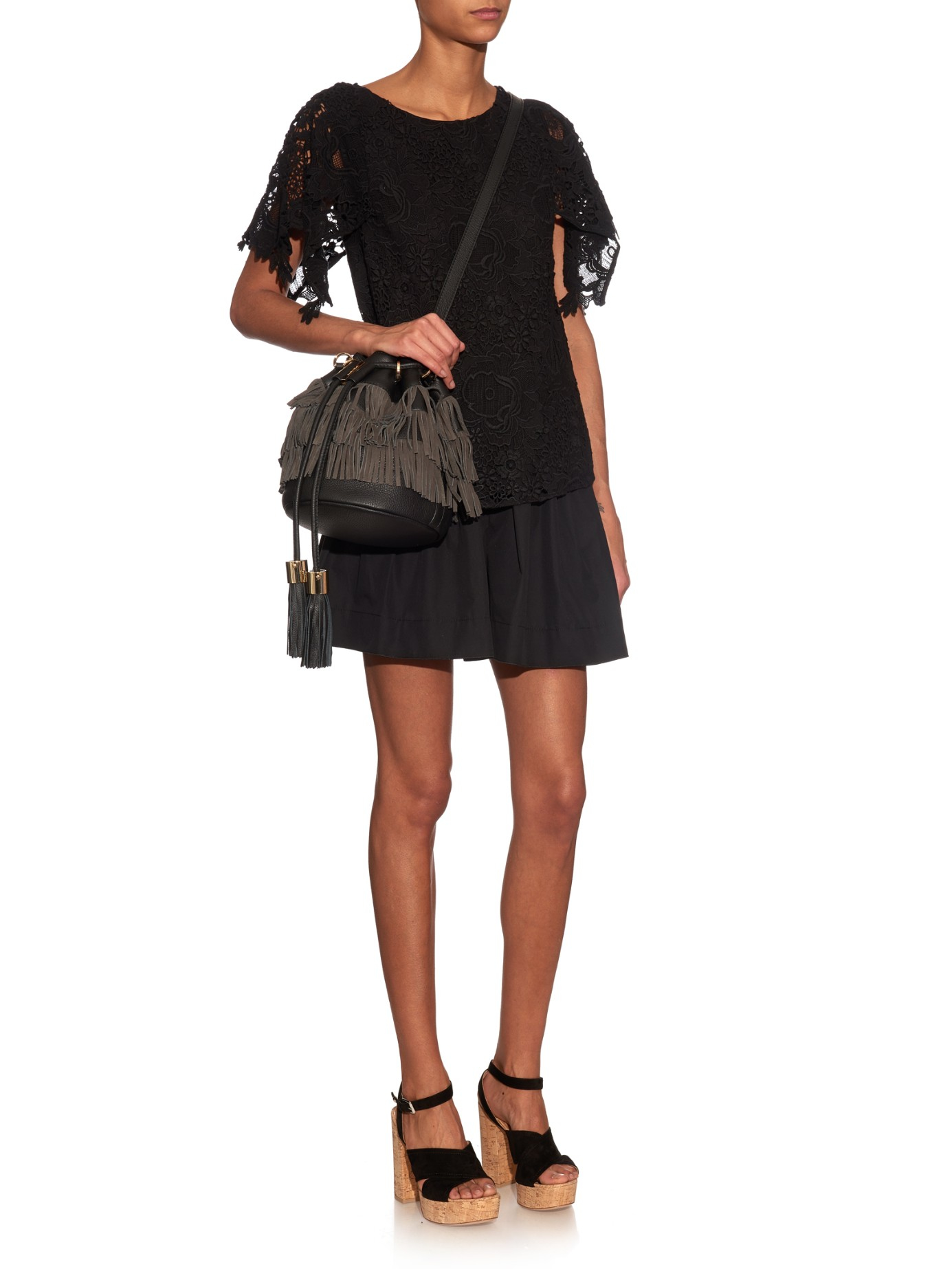 2fab321199d59 See By Chloé Fringed Suede And Leather Bucket Bag in Gray - Lyst