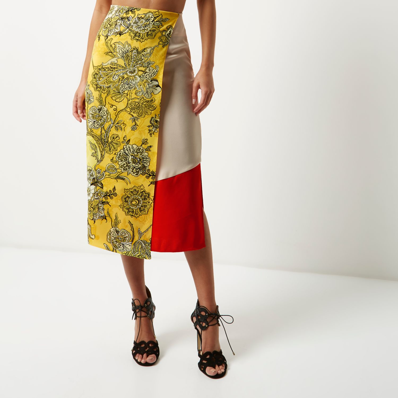 river island yellow print midi wrap skirt in black lyst