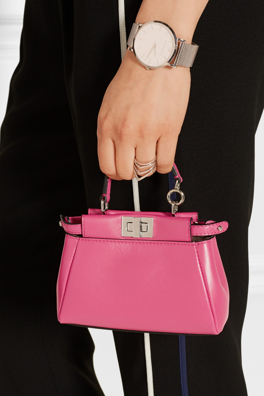 b4740e0472f0 ... italy fendi peekaboo micro leather shoulder bag in pink lyst 2636d fc0a9