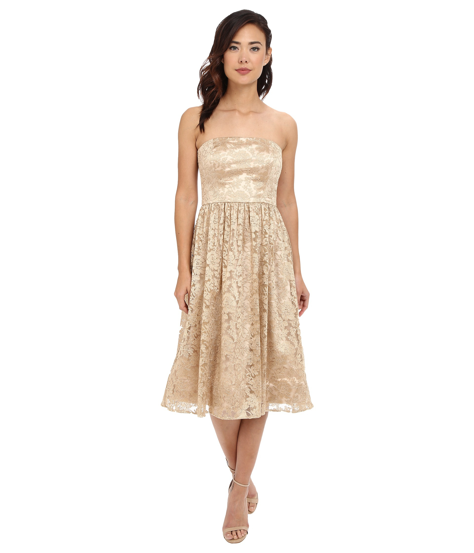 Jessica simpson Strapless Embellished Floral Mesh in Metallic | Lyst
