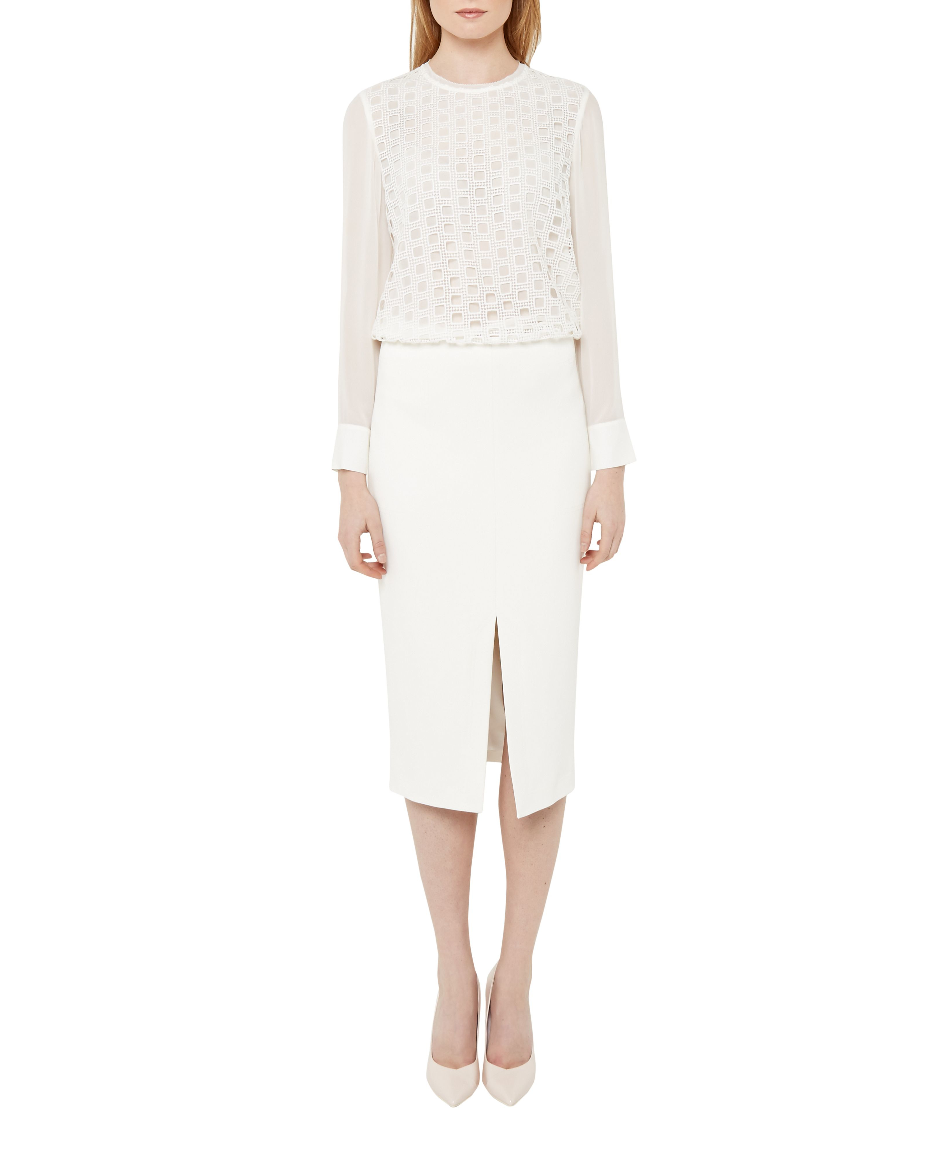 Ted baker High Waisted Split Pencil Skirt in Natural | Lyst