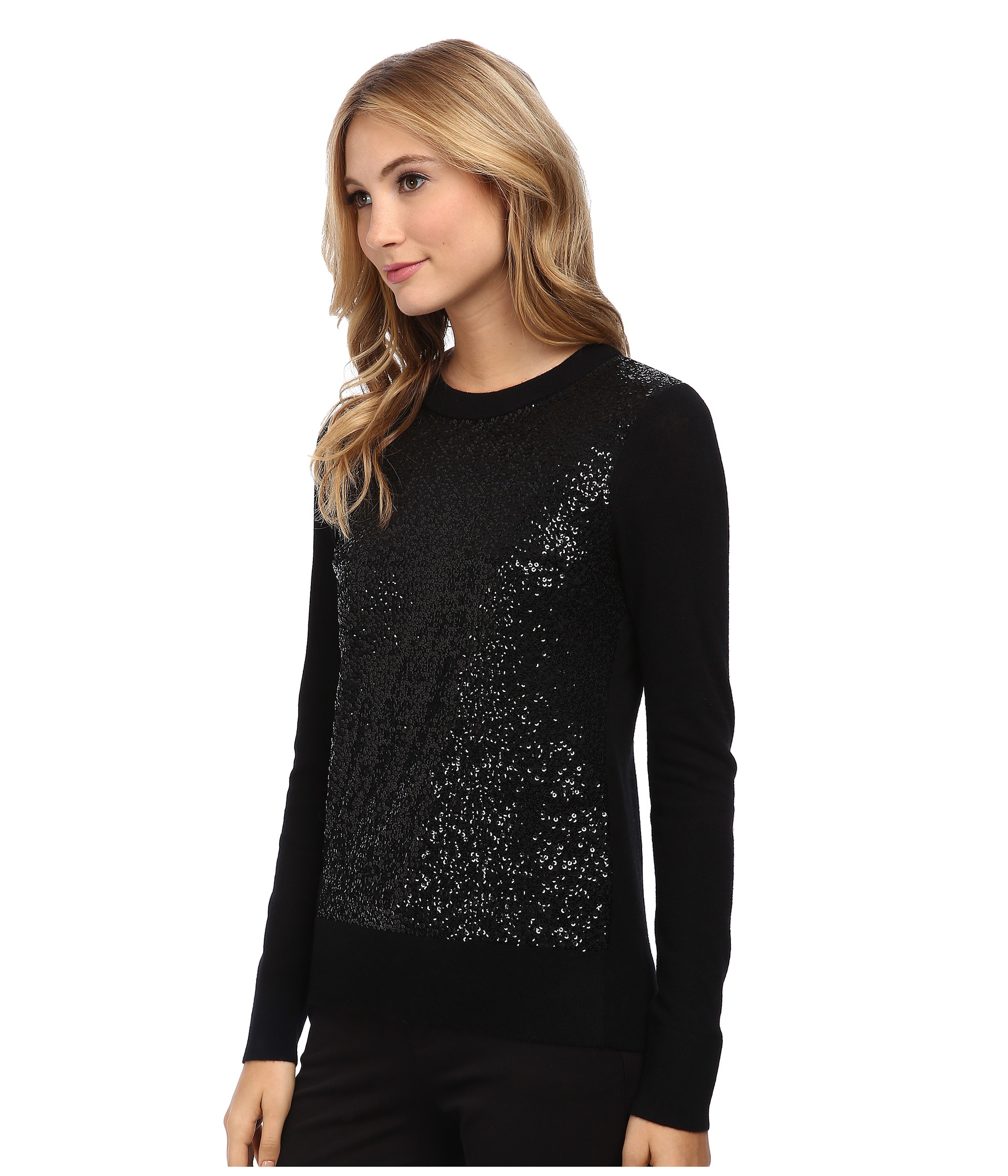 Kate spade new york Fluffy Wool Sequin Sweater in Black   Lyst