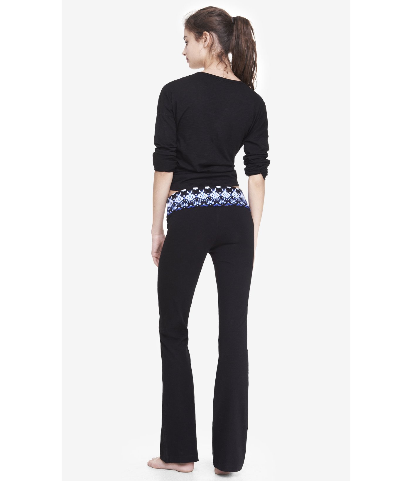 Express Ikat Print Fold-Over Yoga Pant In Black