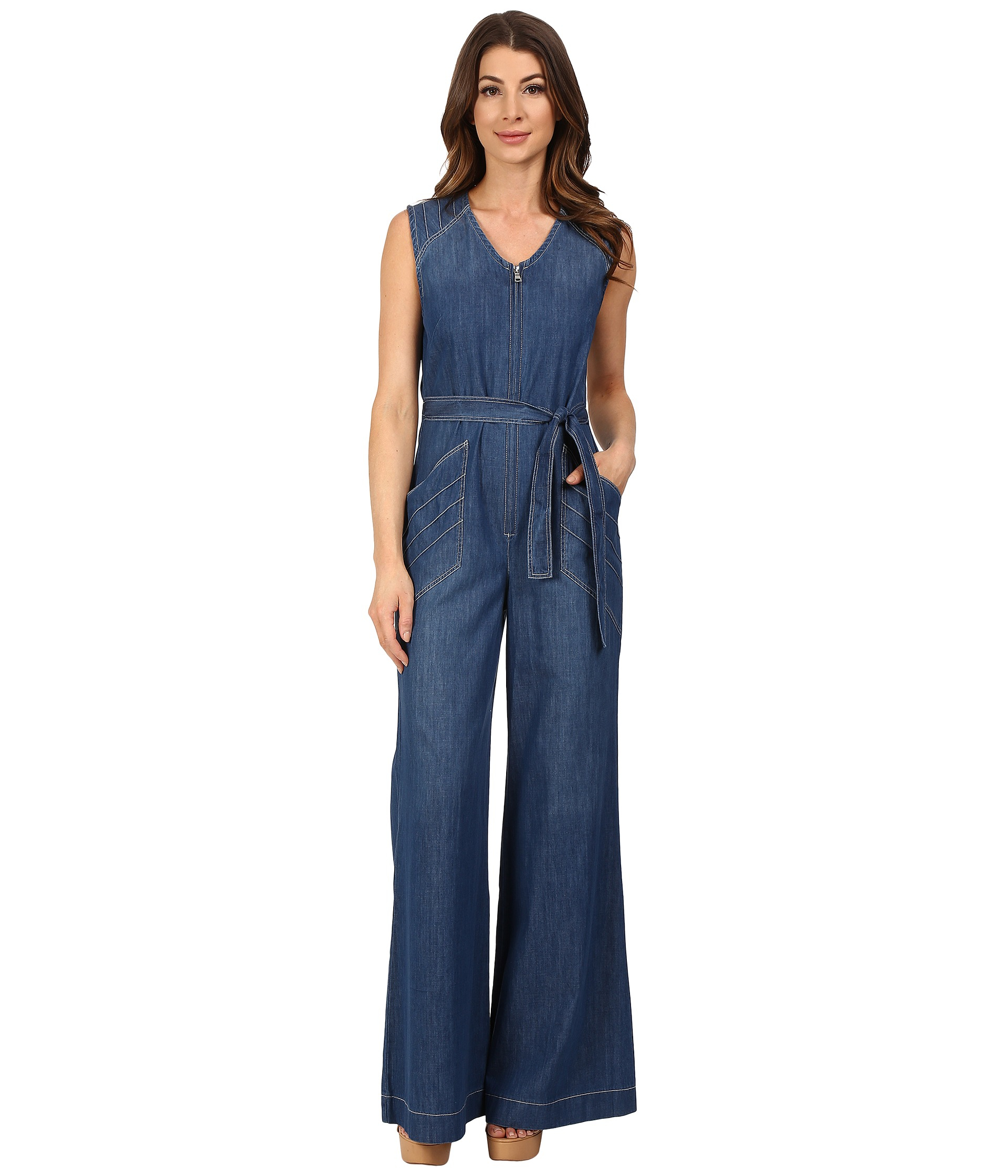 7 for all mankind Wide Leg Denim Jumpsuit W/ Topstitching In ...