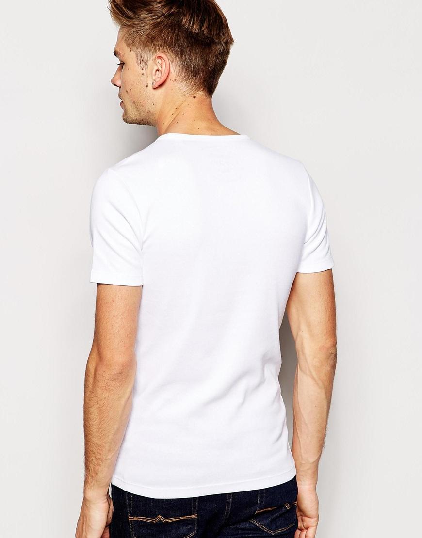 esprit ribbed t shirt in white for men lyst. Black Bedroom Furniture Sets. Home Design Ideas