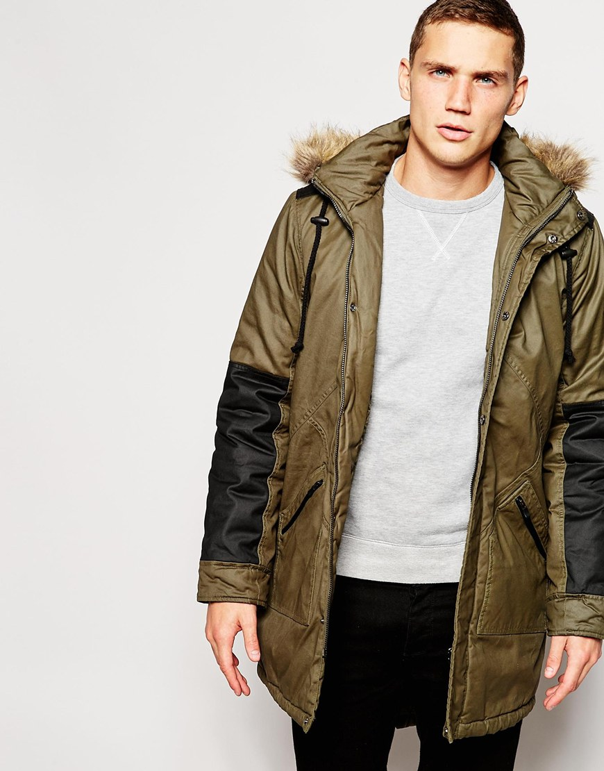 Another influence Coated Faux Fur Hooded Parka Jacket in Green for