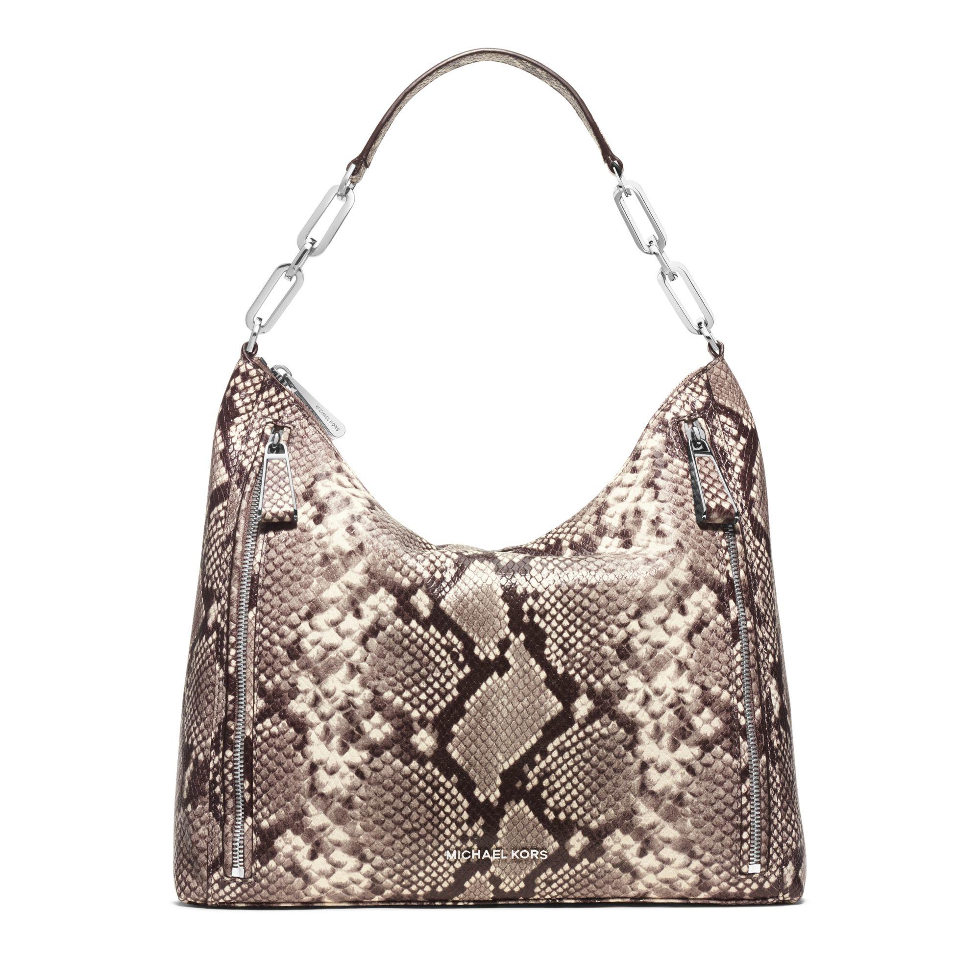 5f20e1da47b8 Michael Kors Matilda Large Embossed-leather Shoulder Bag in Natural ...