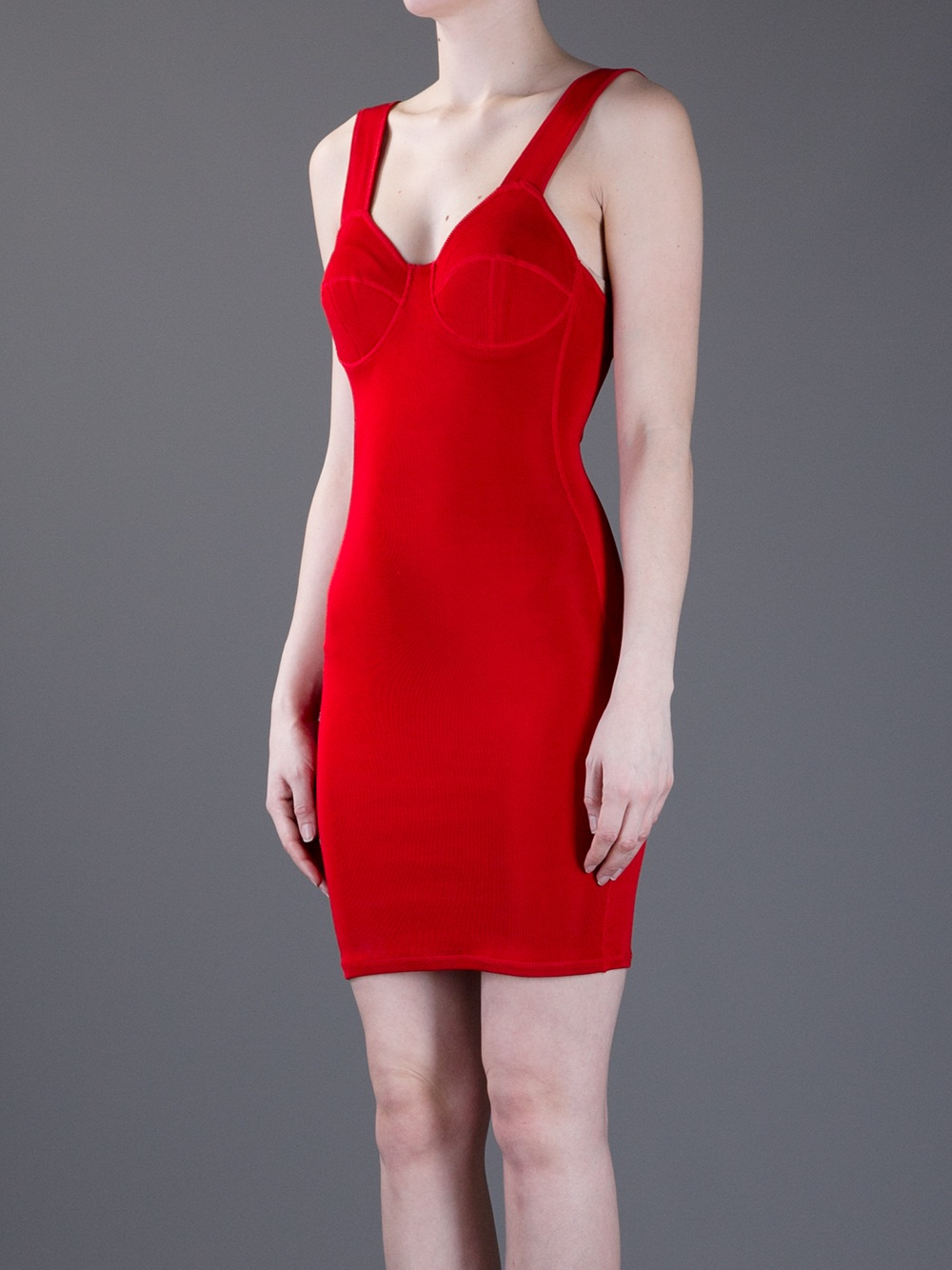 Lyst Jean Paul Gaultier Bodycon Dress In Red