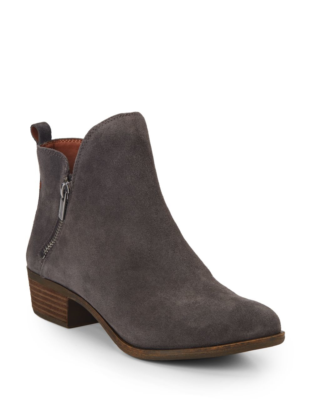 Lyst Lucky Brand Basonta Suede Ankle Boots In Brown