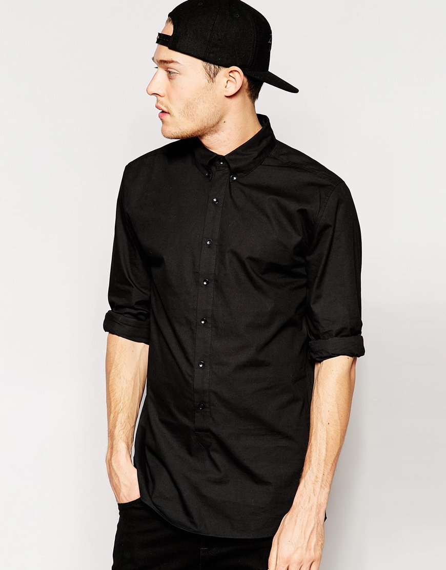 Standard issue Exclusive Longline Button Down Shirt in Black for ...