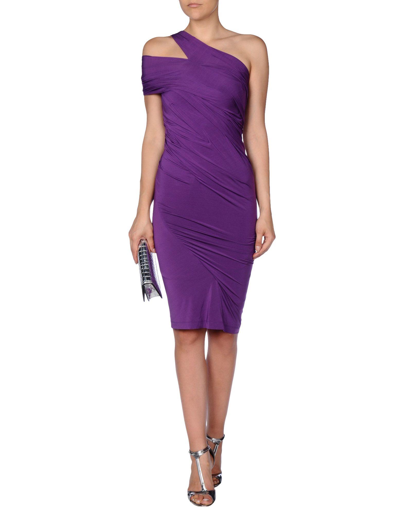 Lyst - Donna Karan Short Dress in Purple