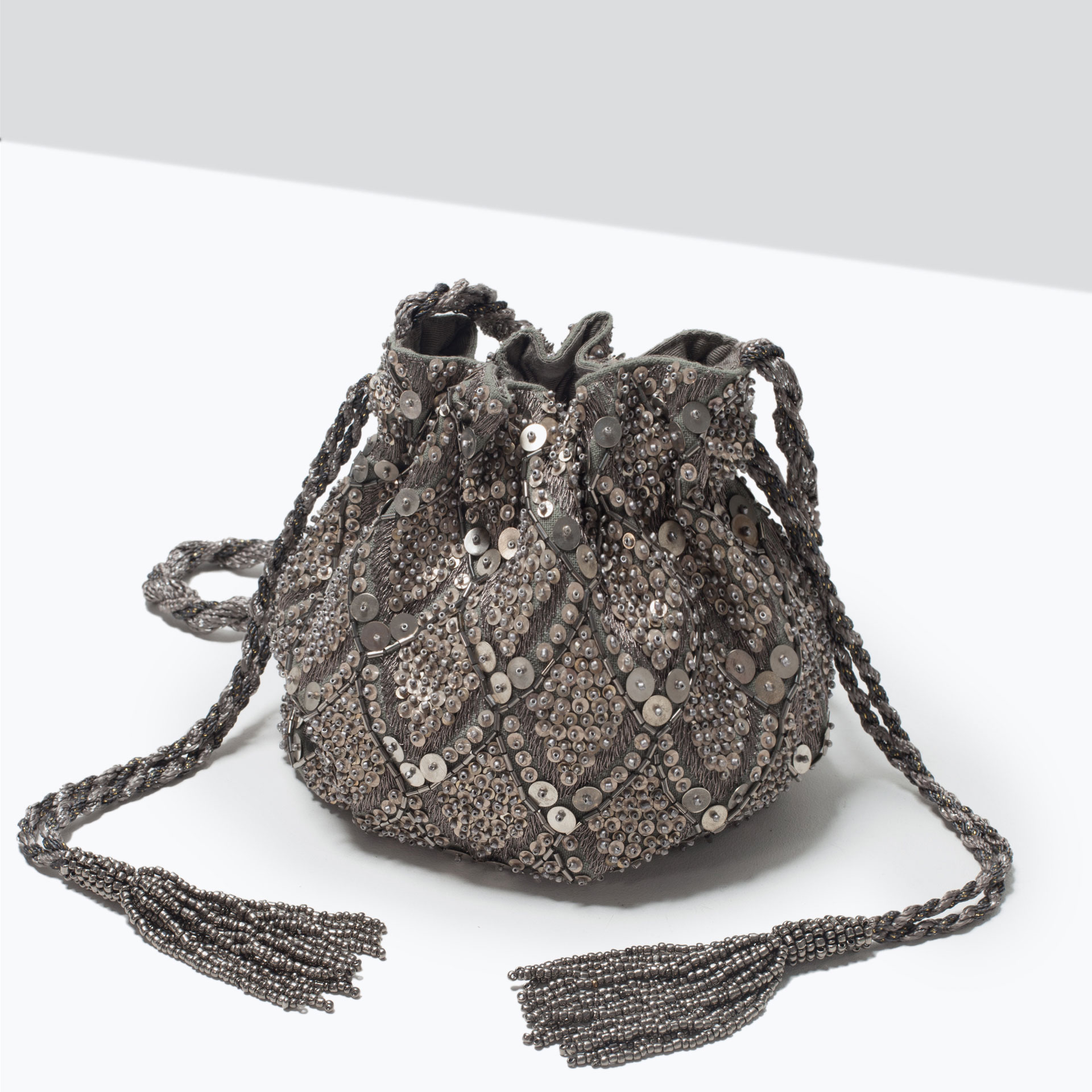 Zara Beaded Drawstring Bag | Lyst