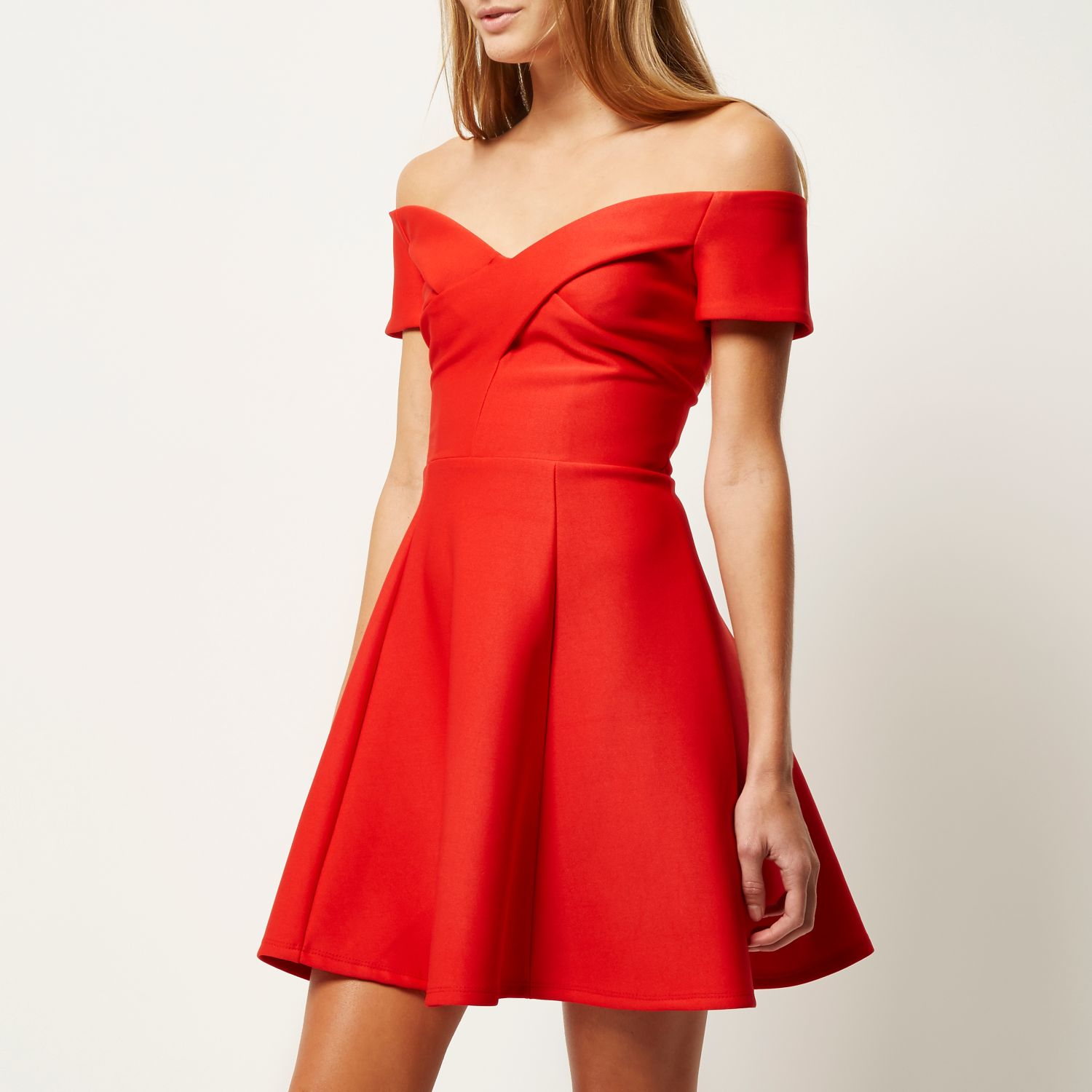 Lyst River Island Red Bardot Skater Dress In Red