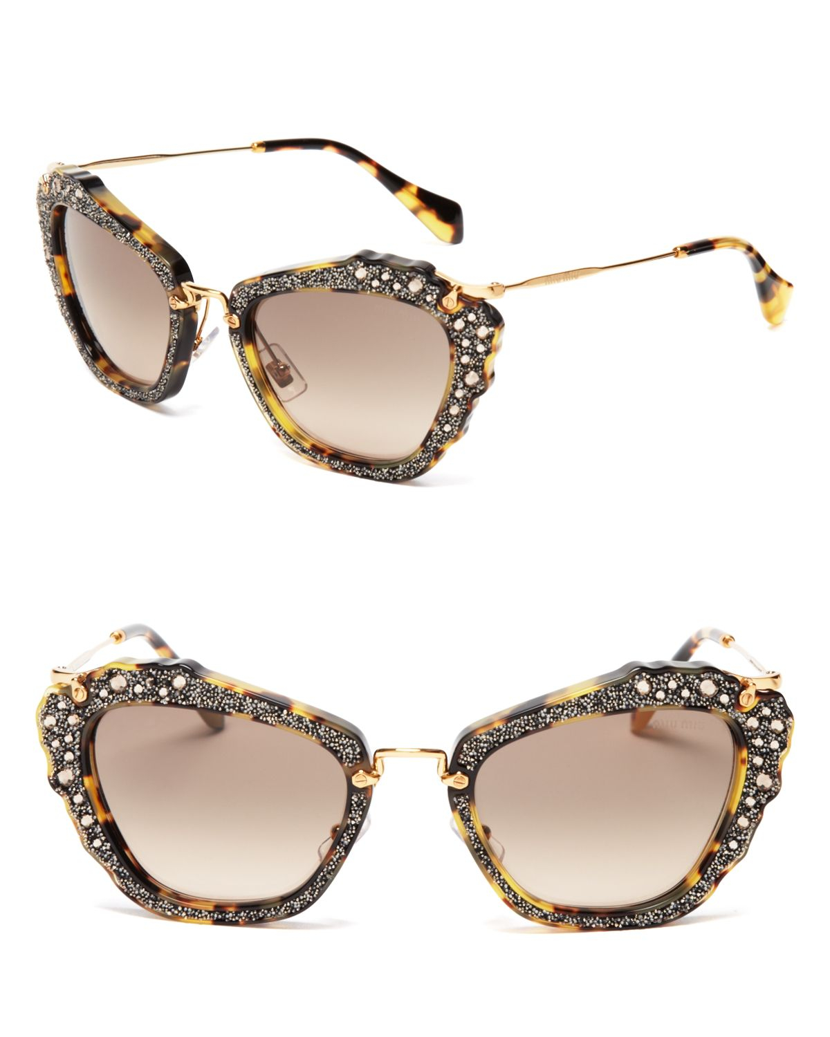Miu Miu Embellished Cat Eye Sunglasses In Gray Lyst