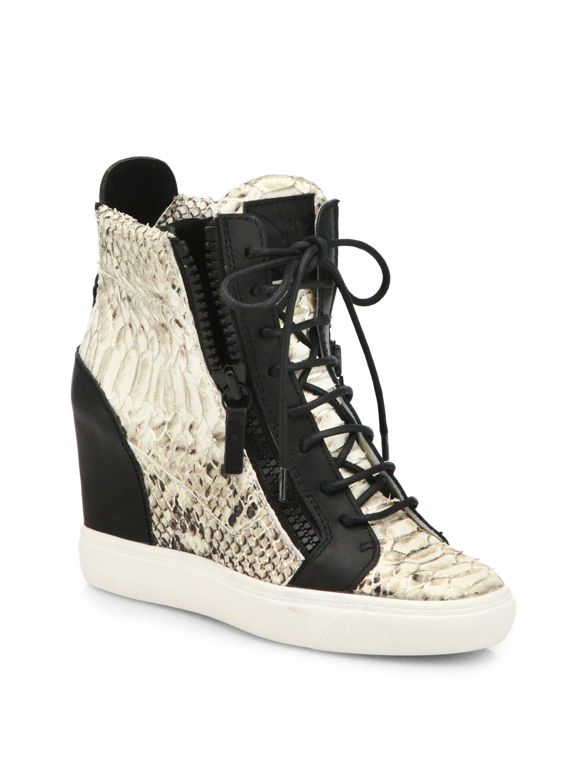 e087ce91ba1a Lyst - Giuseppe Zanotti Python   Leather Wedge Sneakers in Black